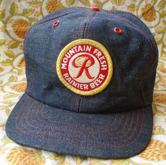 Vintage Rainier Beer Denim Trucker Hat