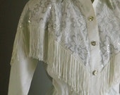 80s Western Swing White Cowboy Dress with Silver tips and Fringe Trim