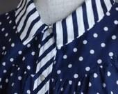 Navy White Polka Dot Duster Robe