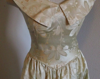 50s Floral Satin Sleeveless Brocade Romantic Garden Party  Wedding Dress