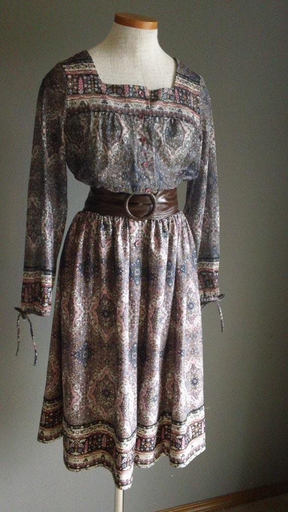 80s Fabulous Paisley Office Secretary Dress