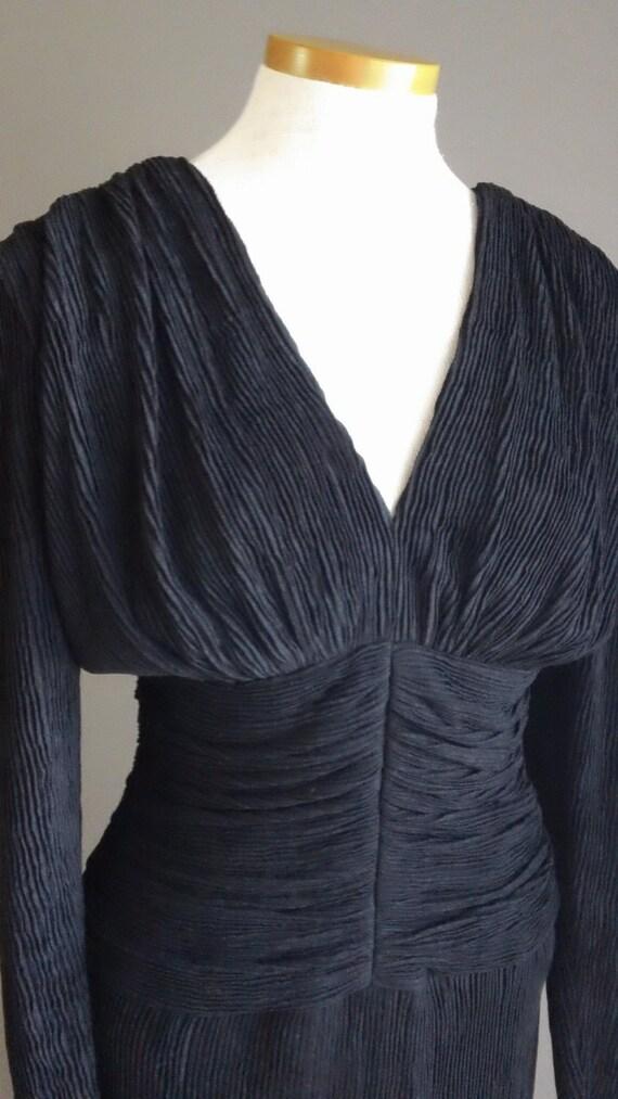 RESERVED LIDIA 70s Ruched Waist Black Joy Stevens Evening Dress Open Back