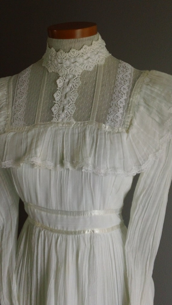 70s White Gauze Cotton Gunne Sax Tea Length Victorian Prairie Dress