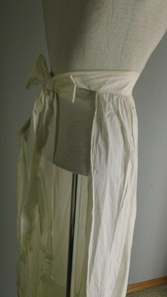 Antique Edwardian White Cotton Long Half Apron