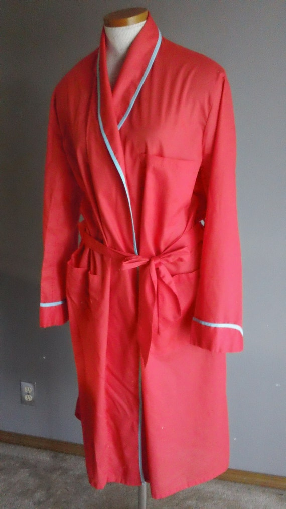 60s Mens Red Robe with Turquoise Piping