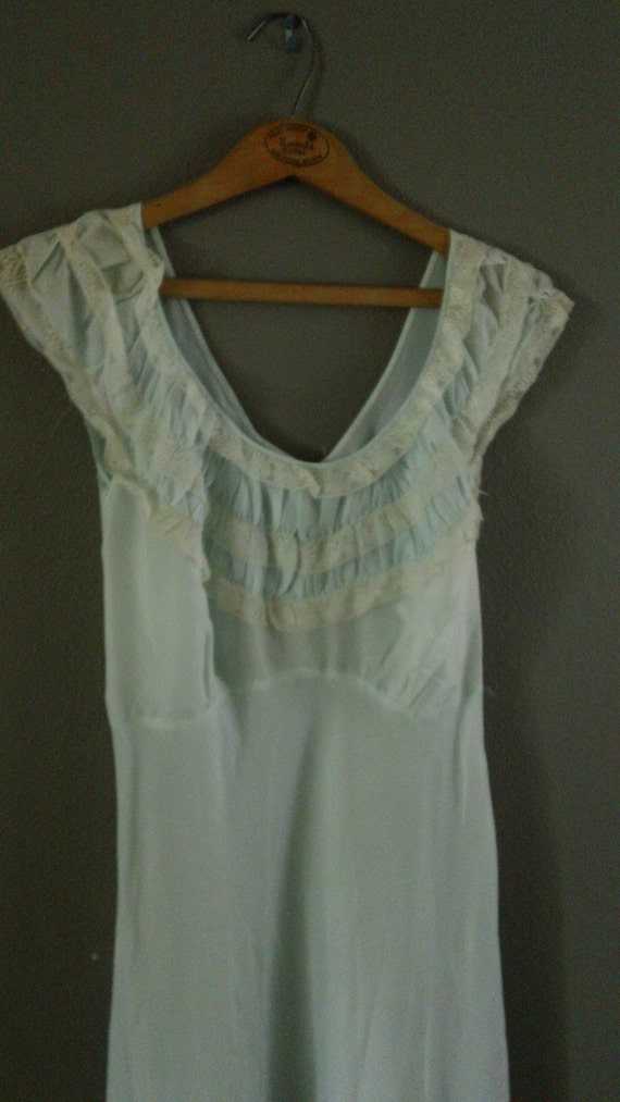 50s Light Blue Ruffled Bust Nightgown by 40 Winks