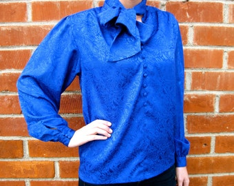 Vintage 70s 80s - Blue Floral Print Ascot / Pussy Bow - Silk Blouse - Womens Size S / M