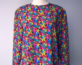 Vintage 80s - Bright Star Blouse - Womens Size S / M