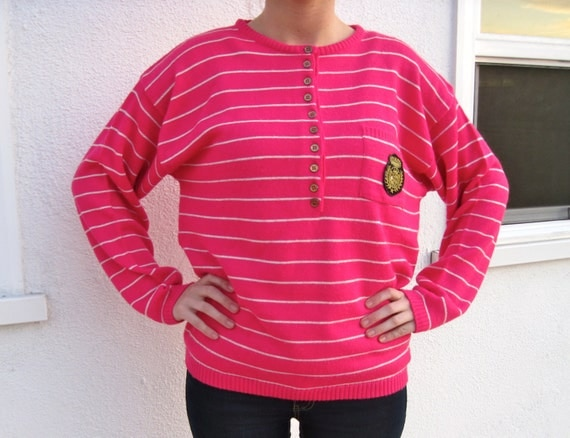 Vintage 80s 90s - Pink & White Stripes - Nautical Gold Detail - Womens Sweater - Size S / M