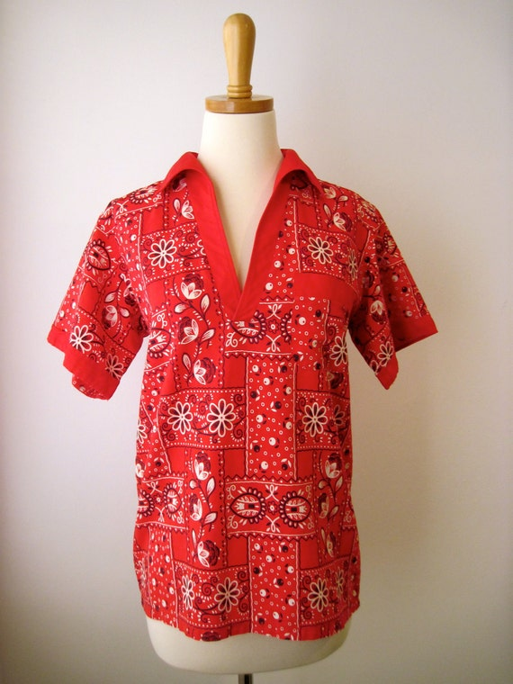 Vintage 60s 70s - Country Western Red Paisley Bandana Short Sleeve Shirt - Womens Size XS / S