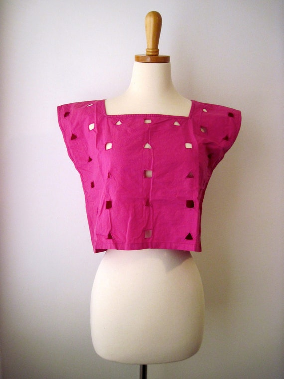 Vintage 80s - Summer Crop Top - Pink w/ Geometric Shapes - Womens Size XS / S
