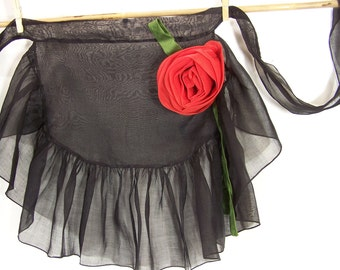 Vintage Apron Sexy Sheer Black with Red Rose, organza. 1960s Party Time for Mad Men.  Ooo-la-la.