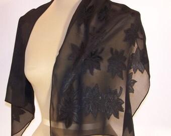 Black Silk Chiffon Jacquard Scarf - Leaf Pattern, 1940s. Rectangle.