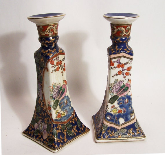 Items Similar To Vintage Chinese Porcelain Candlestick