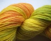 Handpainted Yarn with bamboo and silk yellow orange green