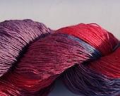 Lacegarn Seide / Merino handpainted  pink violett blue