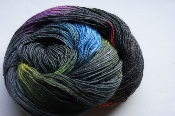 Handpainted Yarn with bamboo and black colorful