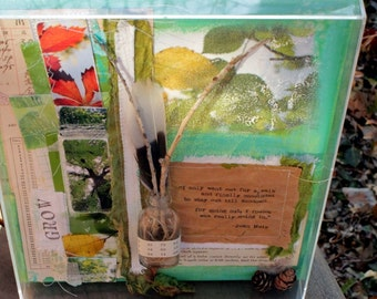 SALE Grow Shadowbox Nature Inspired Altered Art Collage Assemblage