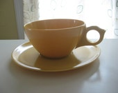 Set of 6 Vintage Melamine Cups and Saucers - Mustard Yellow