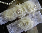 SALE-Wedding Garter - Ivory Lace Garter Set - Shabby - Bridal Garter - Vintage Garter - Toss Garter - Rhinestone and Pearl Wedding Garter