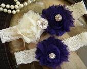 Eggplant Wedding Garter - Garters - Ivory Lace Garter Set - Vintage - Bridal Garter - Dark Purple - Plum - Rhinestone - Pearl - Purple
