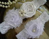 Wedding Garter - Garters - White Lace Garter Set - Bridal Garter - Vintage Garter - Toss Garter - Rhinestone and Pearl Wedding Garter