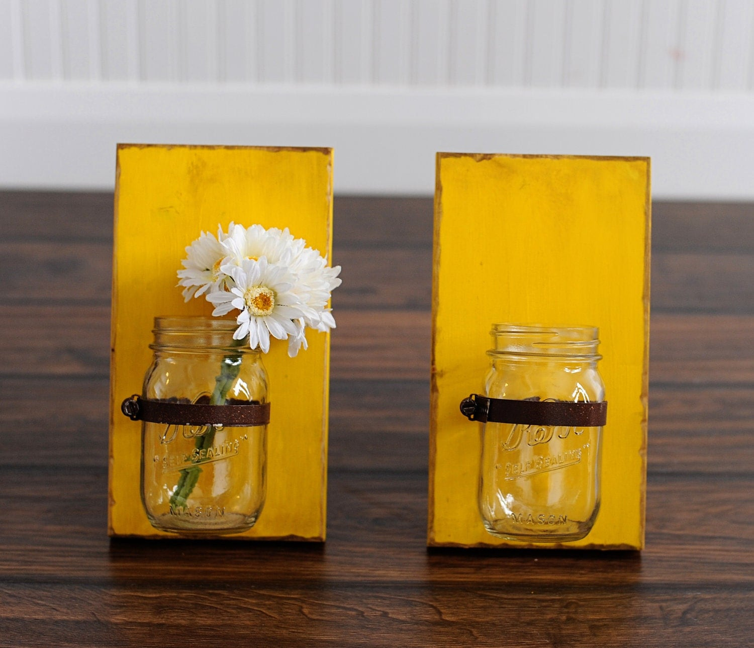 Mason Jar Wall Sconce Etsy : Wood Mason Jar Wall Sconce Large Sconces Two by JHomeStudios