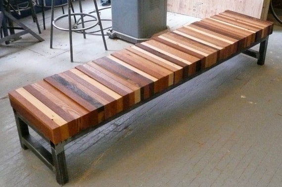Reclaimed Wood Bench Combined Tube Steel Base | Home Lilys design ...