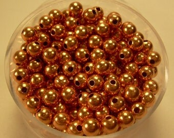 4 mm  100 Pcs. Round COPPER SMOOTH BEADS (Genuine Solid Copper)