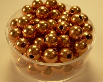 6mm  50 Pcs. Round COPPER SMOOTH BEADS (Genuine Solid Copper)