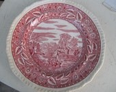 Vintage Red Transfer Dinner Plate by Salem Heirloom with Scallooped Edge