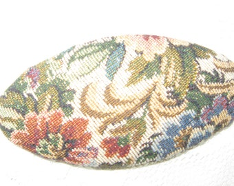 Tapestry Hair Oval Barrette that was made in France vintage