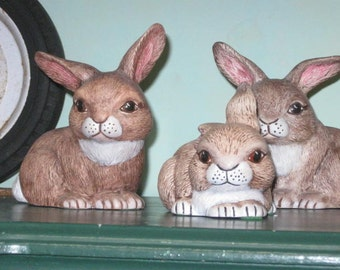 Ceramic Bunny Figurines-Family of Three- Vintage-Easter-Spring-Home Decor