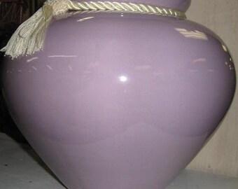 Orchid/Purple- Violet- Large Vase with Cream Tassle-Vintage