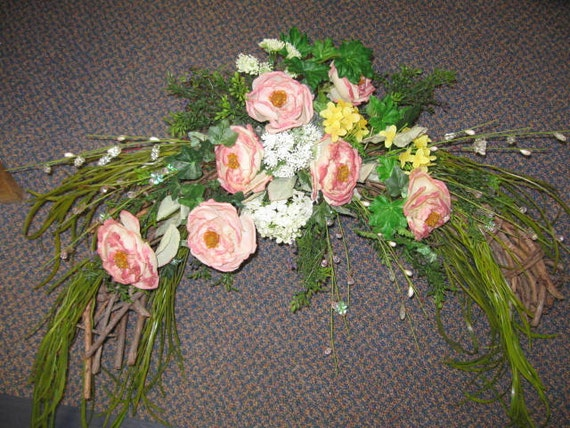 Arch Arrangement with Roses, Glitter Stems, Greens, Etc.  OOAK Use for Weddings too-Originial floral arrangement arch.