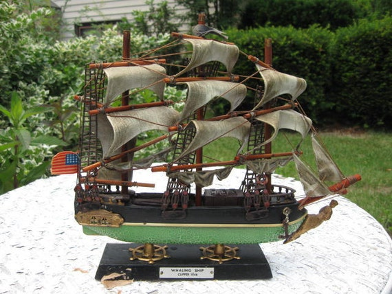 Whaling Ship Model with American Flag - Vintage