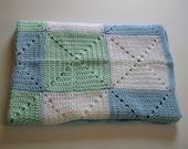 SALE Crochet Baby Blanket  Blue Green White Granny Square Handmade Littlestsister