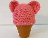 Reserved for Ryan SALE - Crochet  Baby Hat, Newborn, Pink with Ears