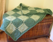 SALE Crochet Afghan Blanket Sage Green Granny Square Throw Handmade Littlestsister