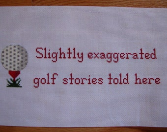 Cross Stitch Golf Sampler Completed and Ready to Frame Handmade LittlestSister