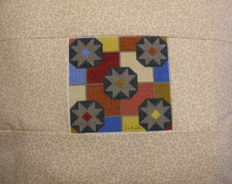 Pillow with Completed Cross Stitch Quilt Block Design Calico Handmade LittlestSister