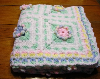SALE Crochet Baby Afghan Blanket White and Pastels Cottage  Handmade Littlestsister