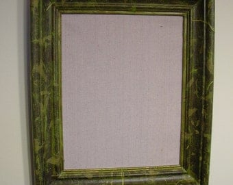 Message Board Upcycled from Vintage Frame Decoupage with Yellow Green Mulberry Paper Handmade Littlestsister