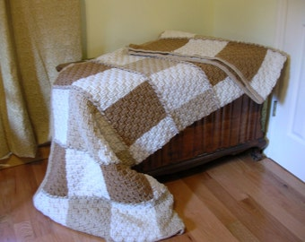 Crochet Afghan Neutral Colors  Basketweave Stitch Large and Cozy Beige Brown White Handmade Littlestsister
