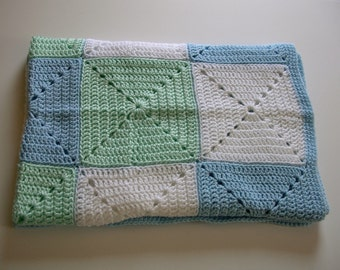 SALE Crochet Baby Blanket  Blue Green White Granny Square Handmade Littlestsister
