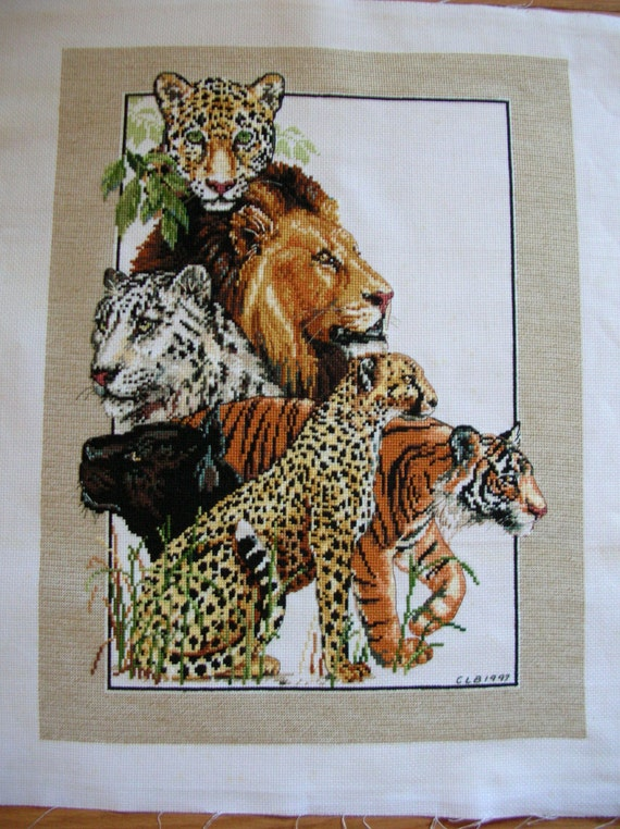 Cross Stitch  Exotic Cats  Lion Tiger Leopard Cheetah Jaguar  Animal Theme Completed Handmade LittlestSister