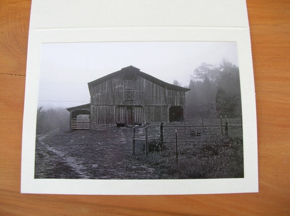 """Photo Note Cards - Set of 6 - Series """"Old Barns"""" - Black and White"""