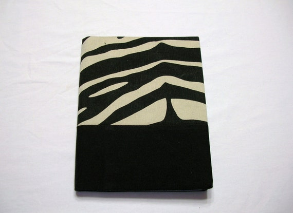 Journal  Notebook Cover in Zebra Print Fabric Handmade Black Tan LittlestSister