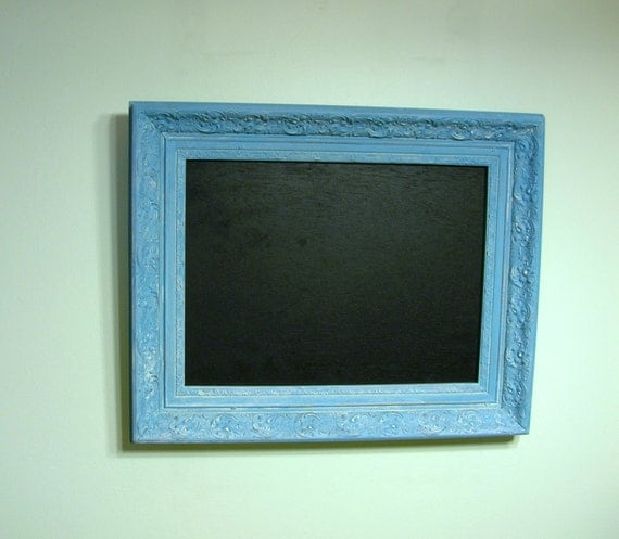 Shabby Chic Chalkboard in Upcycled Vintage Frame - Blue