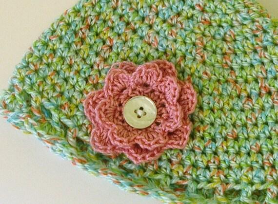 Crochet Baby Hat 3-6 months Blue Pink Flower and Button Accents Handmade Littlestsister